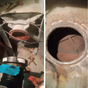 Removal of the existing pipe